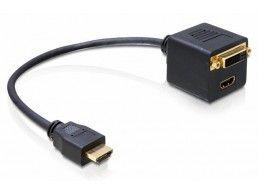 Adapter przejściówka DELOCK - HDMI do DVI + HDMI