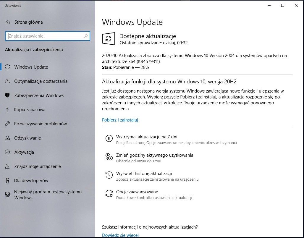 Windows 10 20H2 panel aktualizacji